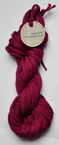 Deep cerise cotton/linen mix ChunkyTape yarn 100g skein